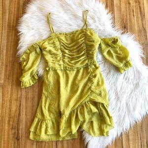 NWT- TOBI Lime Green Ruffle Dress